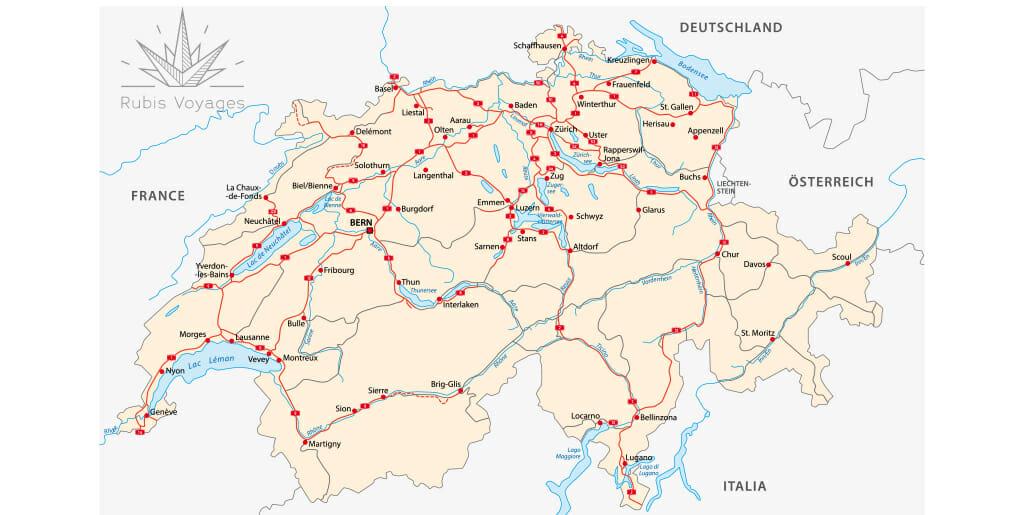 plan de la suisse Road Trip